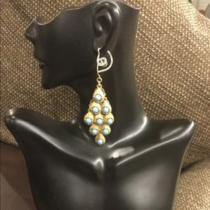 Blue And Gold Pierced Earrings.(FREE SHIPPING)